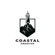 Coastal Logo Design Illustration Vector Template. Lighthouse Icon Inspiration