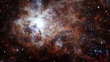 Space Travel The Tarantula Nebula. Space Flight To Star Field