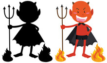 Red Devil On Fire With Its Silhouette Vector Design Illustration