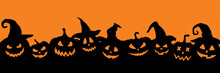 Pumpkins Silhouette In Witch's Hats. Halloween Simple Banner With Jack O Lantern.