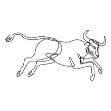 Continuous Line Drawing Illustration Of A Texas Longhorn Bull Jumping Side View Done In Mono Line Or Doodle Style In Black And White On Isolated Background.