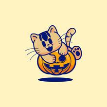Cute Cat Hug A Halloween Pumpkin Vector Cartoon