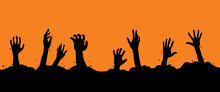 Zombie Hand Silhouette. Monster's Hands In Grave.