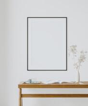 Interior Poster Frame Mockup With Modern Furniture Decoration - 3d Illustration, 3d Render