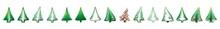 Christmas Tree Set. Cartoon Abstract Christmas Trees With Gifts And Balls Vector Set. Christmas Trees Icons