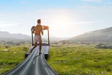 Man Running On A Treadmill Concept