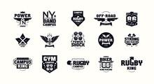 Sport Emblems And Badges Of Gym, Racing, Rugby, Biker