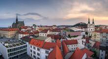 Beautiful Panorama Of Brno City Historical Center In Czech Republic
