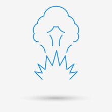 Explosion Icon With Shadow. Vector Illustration.