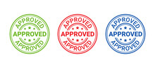 Approved Stamp. Vector. Seal Imprint Approve. Approval Permit Badge, Label. Accepted Sticker. Confirm Certificate. Round Mark Of Quality Permission. Circle Shape Emblem Isolated On White Background