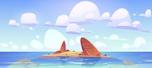 Ocean Shallow Nature Landscape Rocky Land In Clean Sea Water Under Fluffy Clouds In Sky. Rock Island Morning Or Day Time Tranquil Seascape View, Scenery Marine Background, Cartoon Vector Illustration