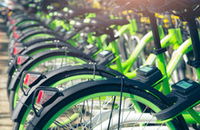 Bicycle Sharing Systems. Bicycle For Rent Business. Bicycle For City Tour At Bike Parking Station. Eco-friendly Transport. Urban Economy Public Transport. Bike Station In The Park. Healthy Lifestyle.