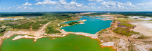 Colored Lakes On-site Of Abandoned Ilmenite Quarries, Aerial View
