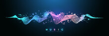 Music Wave Flow Poster Design With Lines And Dots. Sound Flyer With Abstract Gradient Line Waves. Music Abstract Background. Vector Concept.