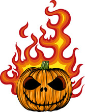 Vector Of A Scary Flaming Halloween Pumpkin Jack O Lantern Head