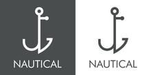 Logotipo Con Texto Nautical Y Silueta De Ancla De Barco Con Forma De Letra Inicial J Con Lineas En Fondo Gris Y Fondo Blanco
