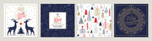 Ornate Merry Christmas Greeting Cards. Trendy Square Winter Holidays Art Templates