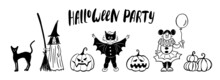 Halloween Cute Kids Costume Party Banner. Funny Hand Drawing Ink Style Vector Illustration Set With Black Cat, Witch Girl, Batman Boy, Clown Girl And Pumpkins. Design Template For Print Cards.
