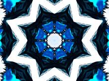 Blue Neon Pentagram On White Background. Star Kaleidoscope
