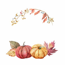 Thanksgiving Vector Wreath Colorful Pumpkins With Autumn Leaves And Flowers.