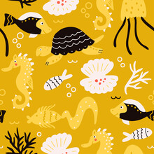 Seamless Pattern Of Colorful Underwater World With Fish, Turtles, Sea Horses And Jelly Fish.