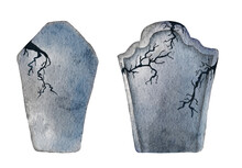 Watercolor Tombstone With Cracks. Hand Drawn Halloween Illustration.