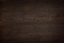 Rustic Dark Brown Wood Surface. Top View. Horizontal Texture Background With Space For Text.