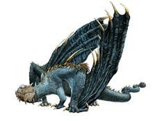 Gigantic One-eyed Dragon. Fantasy Book Illustration.