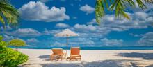 Amazing Tropical Island Shore, Two Sun Beds Loungers, Umbrella Palm Tree On White Sand, Sea View Horizon. Luxury Vacation, Inspirational Coast, Sunny Relaxation Seaside. Beach Resort Hotel Landscape