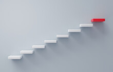 Stairs Going Upward Concept Of Building Success Foundation With Copy Space. Block Stacking As Step Stair On Pastel Background. Ladder Concept Of Success In Business Or Personal Growth. 3D Render