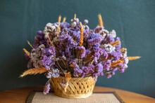 Dry Flower In Wooden Basket