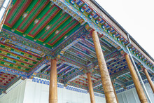 Multi-colored Wooden Ceilings Of The Street Gallery Of Mosque. Khoja Zudmurod Is One Of Oldest Cult Places In Samarkand, Uzbekistan