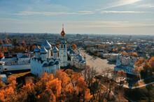 Autumn Vologda Kremlin, Drone Top View, Russia Religion Christian Church