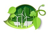 Green leaf with windmills, solar panels, trees, city building silhouettes, vector paper cut illustration. Green energy.
