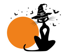 Black Cat In Witch Hat Against The Background Of A Full Orange Moon. Halloween Template For Decoration Of Flyer, Invitation, Greeting Card. Vector On Transparent Background