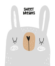 Sweet Dreams. Hand Drawn Vector Illustration With Cute Dreamy Bunny. Infantile Style Easter Print Ideal For Wall Art, Poster, Card. Simple Abstract Gray Funny Rabbit Isolated On A White Background.