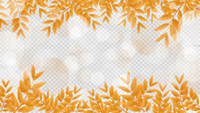 Autumn Frame Leaves Background With Light Bokeh And With Copy Space Isolated On Transparent Background ,  Flat Modern Design , Illustration Vector  EPS 10