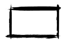 Black Grunge Frame On White Background. Abstract Brush Strokes
