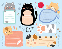 Set Cute Cat. Template For Diary, Memo, Planner, To Do Listbook, Stationary, Note, Scrapbooking, Notebook, Paper Cards, Notes, Stickers, Labels.