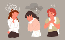 Sad Unhappy Woman In Stress Depression Mental Problem Vector Illustration. Cartoon Young Lonely Depressed Girl Character Crying, Female Teen Person Standing In Rain Of Despair And Sorrow Background