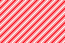 Candy Cane Striped Pattern. Seamless Christmas Red Background. Peppermint Wrapping Texture. Cute Caramel Package Print. Xmas Holiday Diagonal Lines. Abstract Geometric Backdrop. Vector Illustration.