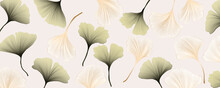 Abstract Banner With Gold And Green Ginkgo Leaves