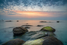 The Beautiful Morning Of Hua Hin Beach With A Group Of Rocks Arranged In Composition. Which Is Unique And Is The Origin Of The Name Hua Hin