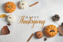 Happy Thanksgiving Banner With Fall Background Showing Top View Of Pumpkins And Leaves For Holiday Season.