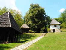 Trsic, Loznica, Serbia 05 September 2021. House Of Vuk Karadzic, A Reformer Of The Serbian Alphabet. Traditional Rural Buildings, Dwelling House, Sheds, Barn, Bathhouse. Architectural Ethno Objects