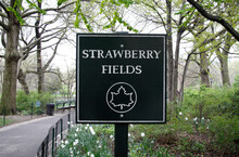 """Name Plate At The Entrance To Strawberry Fields, Site Of The John Lennon Memorial """"Imagine"""" Mosiac In Central Park, New York."""