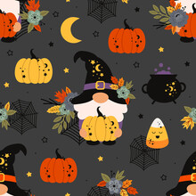 Seamless Pattern With Halloween Gnomes And Pumpkins