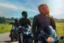 Scene In Motorcycling In Fine Weather, In Nature On Asphalt Road.