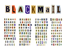 Blackmail/Ransom Anonymous Note Font. Latin Letters And Numbers