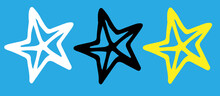 Vector Set Of A Stylized Star. Isolated Outline Of A Star In Doodle Style, Black, Yellow And White On A Blue Background For A Design Template . A Starfish With Stripes Converging In The Center